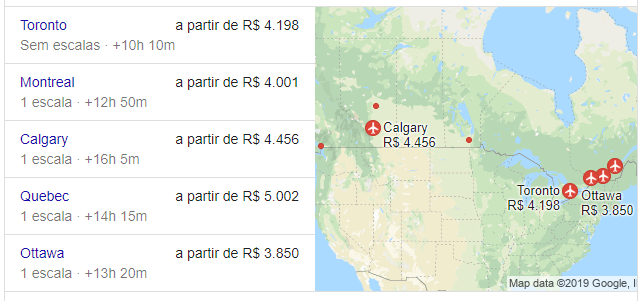 Estimativa de preço de passagens áreas para principais destinos do Canadá.